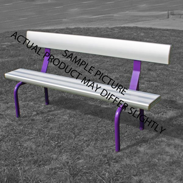 aluminium free standing bench with backrest powder coated radius legs